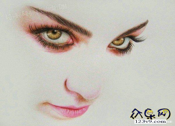 一组超写实彩色铅笔画